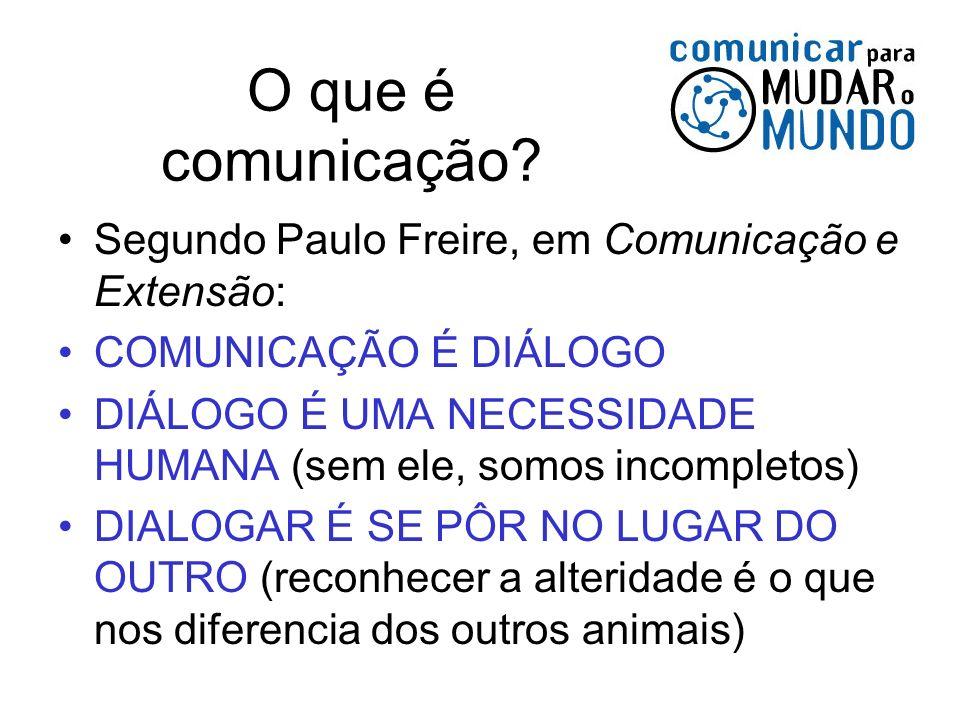 Segundo Paulo Freire, em Comunicação e Extensão: COMUNICAÇÃO É DIÁLOGO DIÁLOGO É UMA NECESSIDADE HUMANA (sem ele, somos incompletos) DIALOGAR É SE PÔR