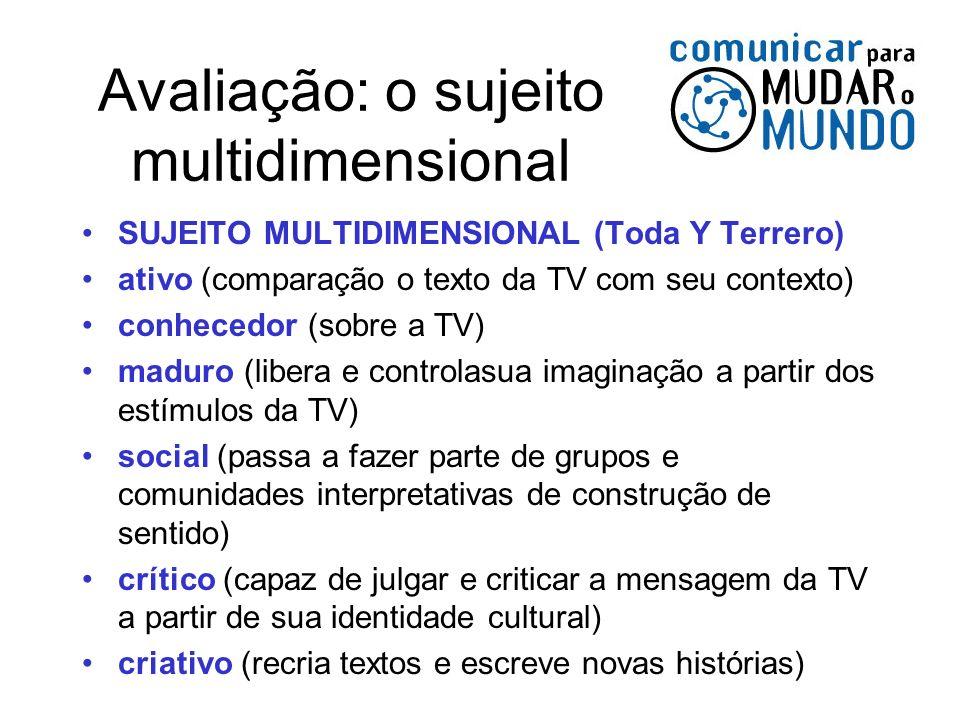 Avaliação: o sujeito multidimensional SUJEITO MULTIDIMENSIONAL (Toda Y Terrero) ativo (comparação o texto da TV com seu contexto) conhecedor (sobre a