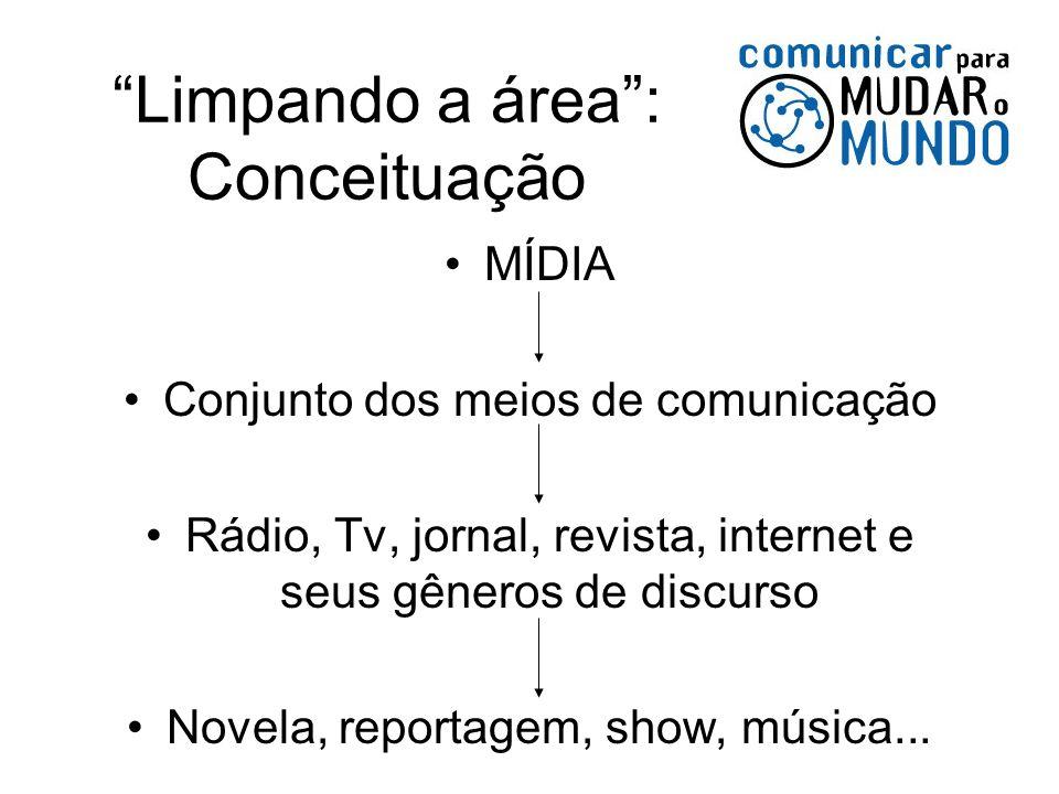 Limpando a área: Conceituação MÍDIA Conjunto dos meios de comunicação Rádio, Tv, jornal, revista, internet e seus gêneros de discurso Novela, reportag