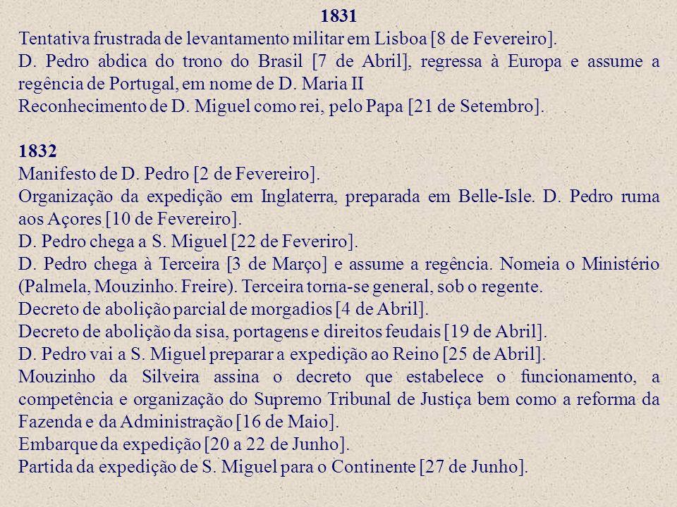 1831 Tentativa frustrada de levantamento militar em Lisboa [8 de Fevereiro]. D. Pedro abdica do trono do Brasil [7 de Abril], regressa à Europa e assu