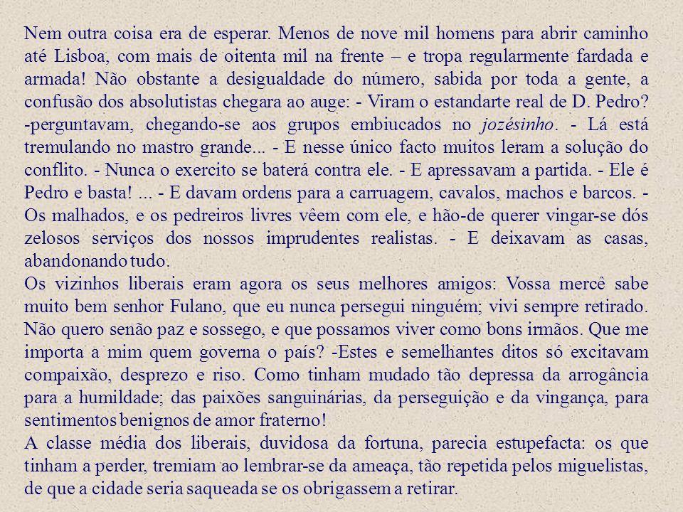 Nem outra coisa era de esperar. Menos de nove mil homens para abrir caminho até Lisboa, com mais de oitenta mil na frente – e tropa regularmente farda