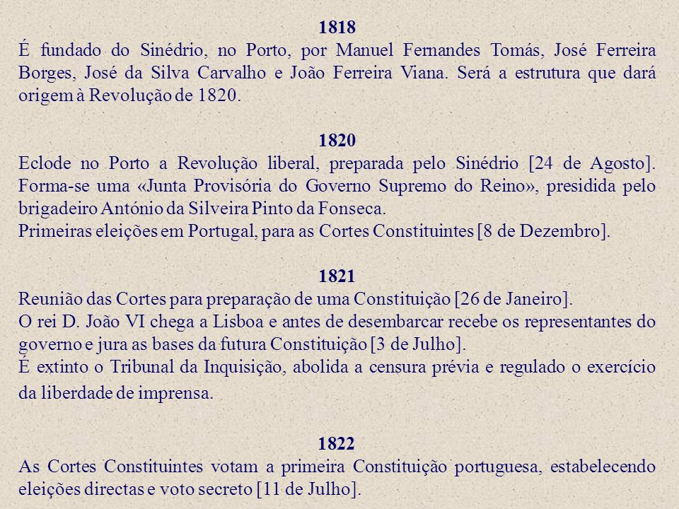 1818 É fundado do Sinédrio, no Porto, por Manuel Fernandes Tomás, José Ferreira Borges, José da Silva Carvalho e João Ferreira Viana. Será a estrutura