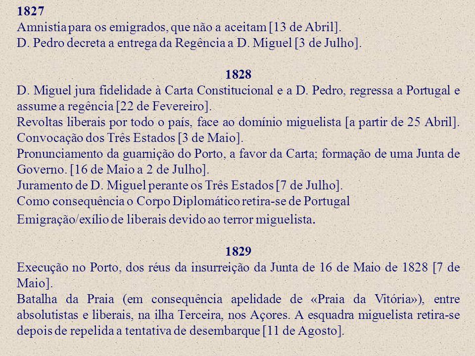 1827 Amnistia para os emigrados, que não a aceitam [13 de Abril]. D. Pedro decreta a entrega da Regência a D. Miguel [3 de Julho]. 1828 D. Miguel jura