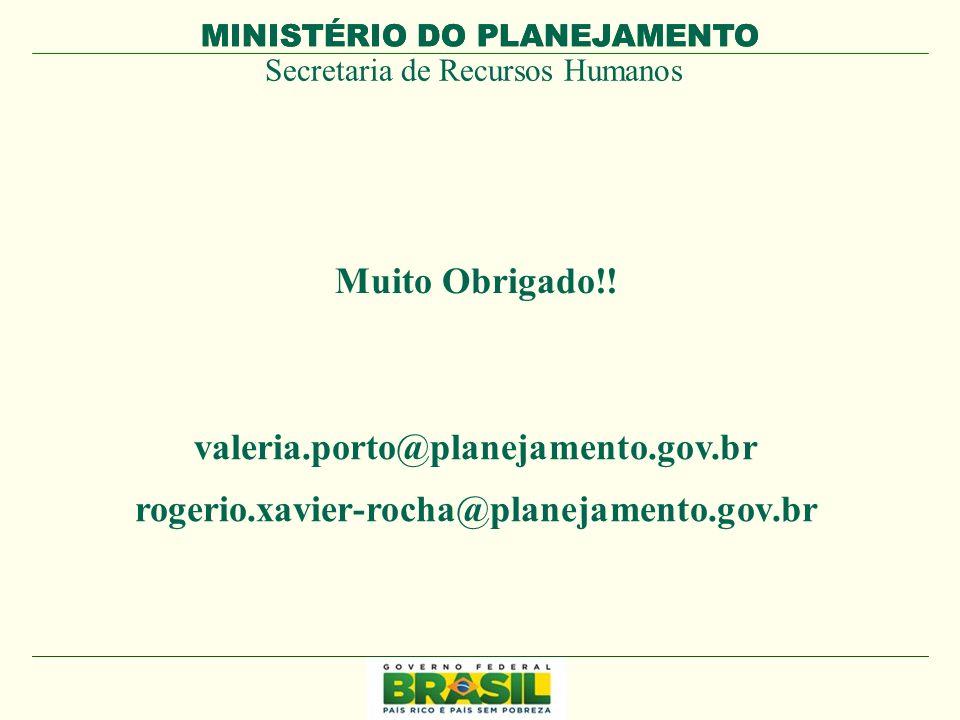 MINISTÉRIO DO PLANEJAMENTO Secretaria de Recursos Humanos MINISTÉRIO DO PLANEJAMENTO Muito Obrigado!! valeria.porto@planejamento.gov.br rogerio.xavier
