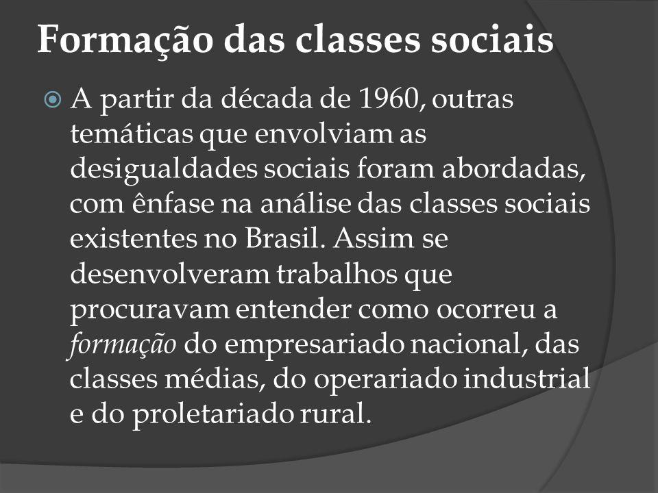 Formação das classes sociais A partir da década de 1960, outras temáticas que envolviam as desigualdades sociais foram abordadas, com ênfase na anális