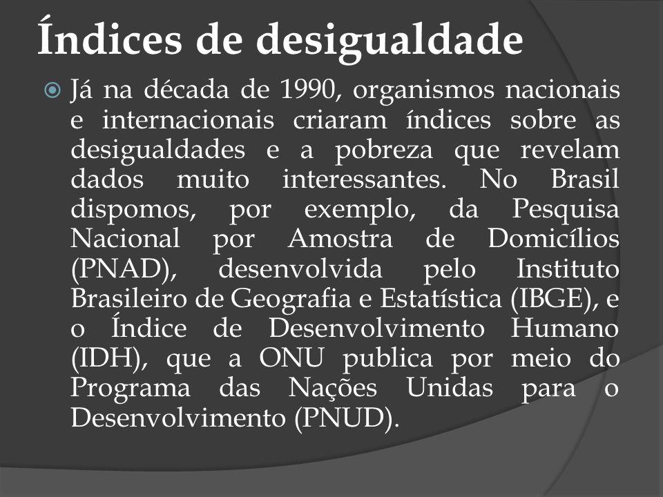 Índices de desigualdade Já na década de 1990, organismos nacionais e internacionais criaram índices sobre as desigualdades e a pobreza que revelam dad