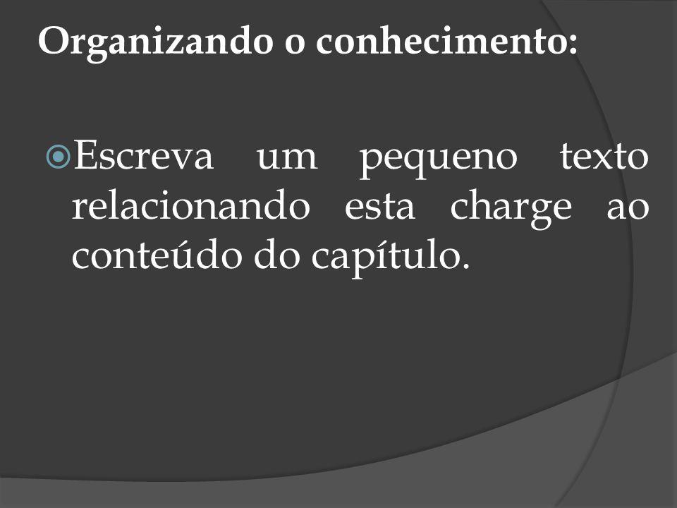 Organizando o conhecimento: Escreva um pequeno texto relacionando esta charge ao conteúdo do capítulo.