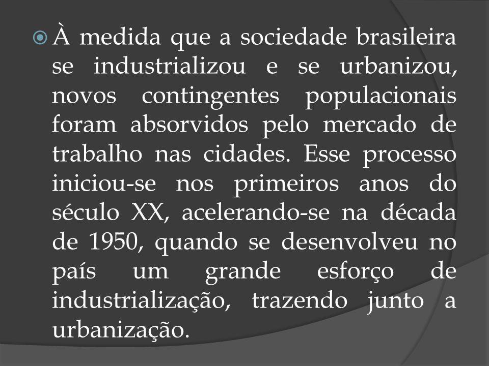 À medida que a sociedade brasileira se industrializou e se urbanizou, novos contingentes populacionais foram absorvidos pelo mercado de trabalho nas c