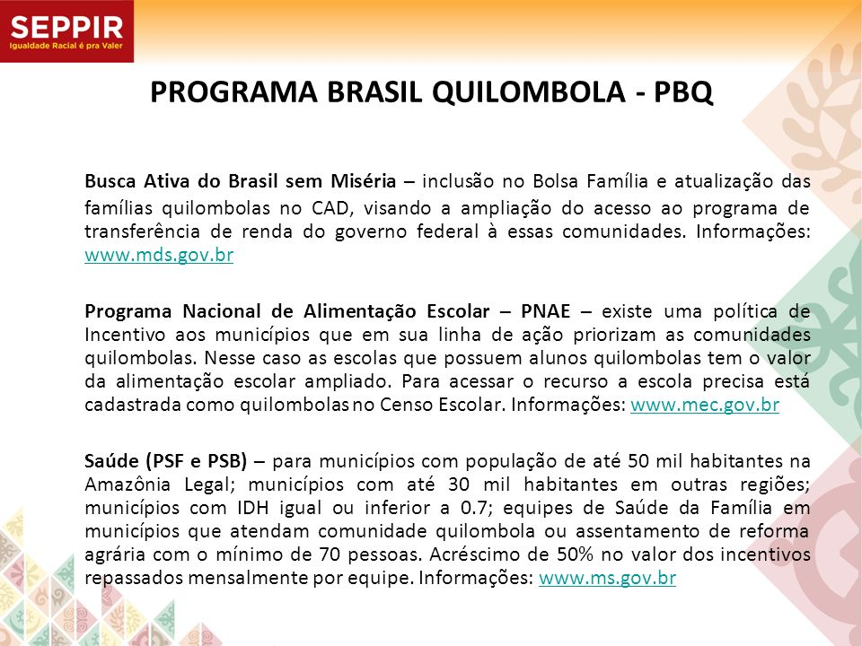 PROGRAMA BRASIL QUILOMBOLA - PBQ Busca Ativa do Brasil sem Miséria – inclusão no Bolsa Família e atualização das famílias quilombolas no CAD, visando