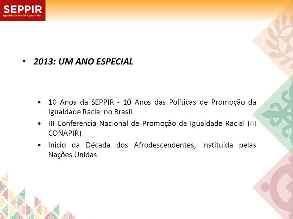 2013: UM ANO ESPECIAL 10 Anos da SEPPIR - 10 Anos das Políticas de Promoção da Igualdade Racial no Brasil III Conferencia Nacional de Promoção da Igua