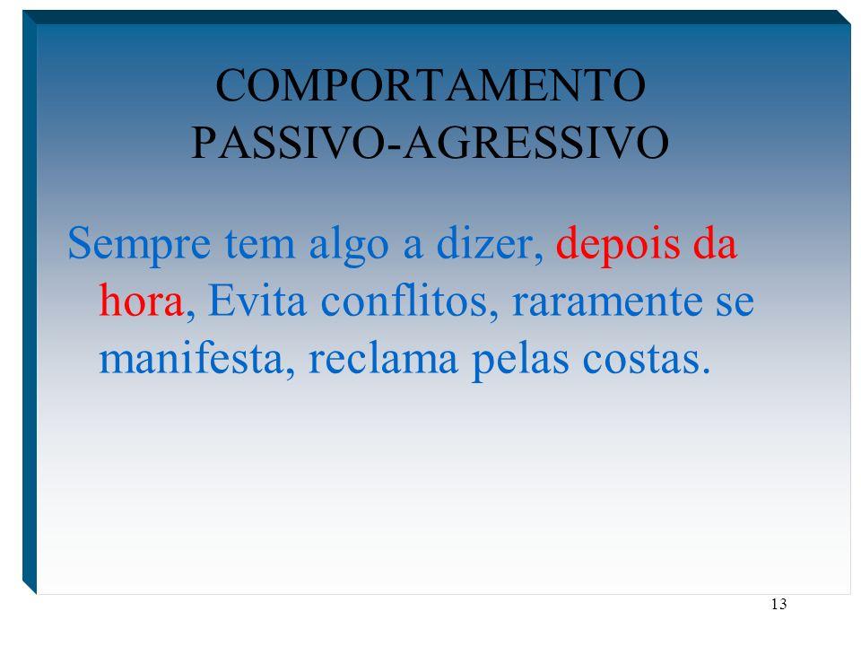 13 COMPORTAMENTO PASSIVO-AGRESSIVO Sempre tem algo a dizer, depois da hora, Evita conflitos, raramente se manifesta, reclama pelas costas.