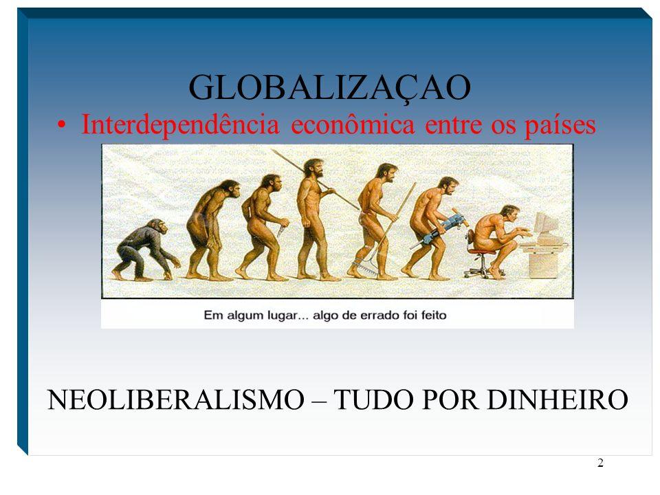 2 GLOBALIZAÇAO Interdependência econômica entre os países NEOLIBERALISMO – TUDO POR DINHEIRO