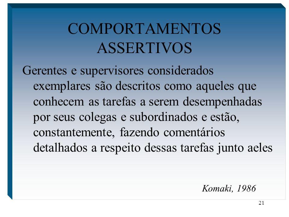 21 COMPORTAMENTOS ASSERTIVOS Gerentes e supervisores considerados exemplares são descritos como aqueles que conhecem as tarefas a serem desempenhadas