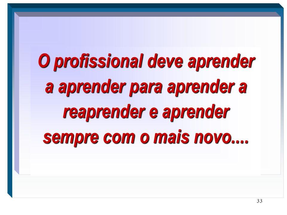 33 O profissional deve aprender a aprender para aprender a reaprender e aprender sempre com o mais novo.....