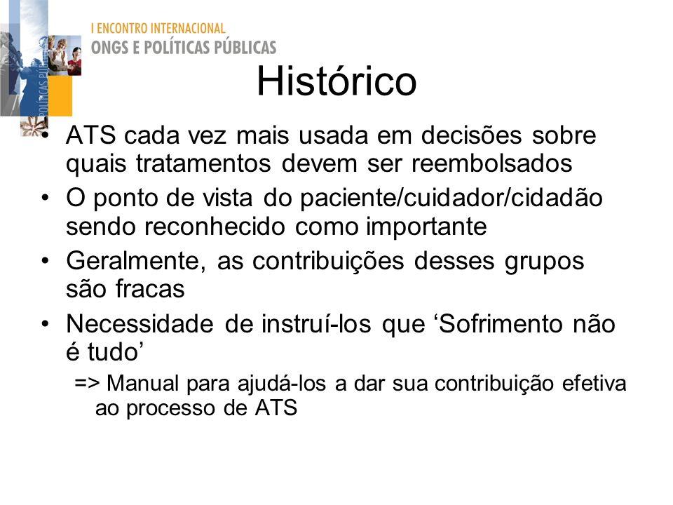 Histórico ATS cada vez mais usada em decisões sobre quais tratamentos devem ser reembolsados O ponto de vista do paciente/cuidador/cidadão sendo recon