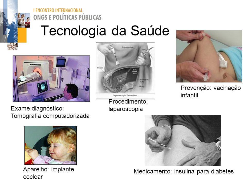 Prevenção: vacinação infantil Tecnologia da Saúde Medicamento: insulina para diabetes Aparelho: implante coclear Exame diagnóstico: Tomografia computa