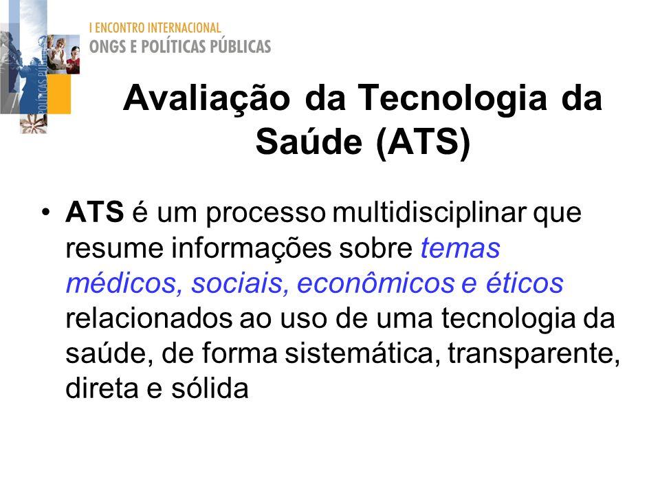 Avaliação da Tecnologia da Saúde (ATS) ATS é um processo multidisciplinar que resume informações sobre temas médicos, sociais, econômicos e éticos rel