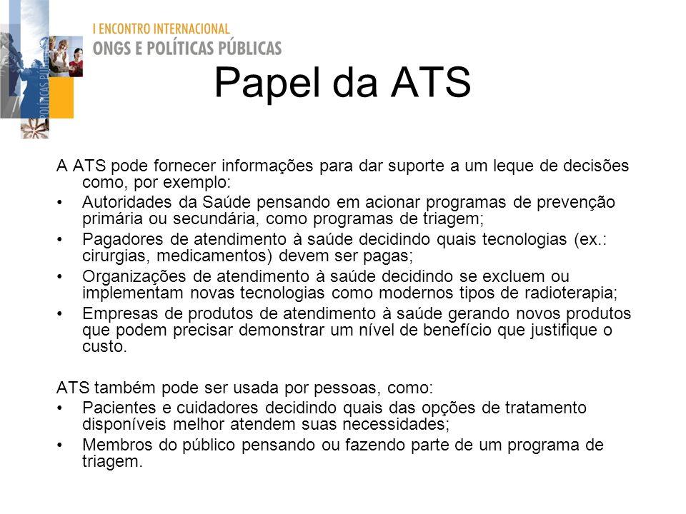 Papel da ATS A ATS pode fornecer informações para dar suporte a um leque de decisões como, por exemplo: Autoridades da Saúde pensando em acionar progr