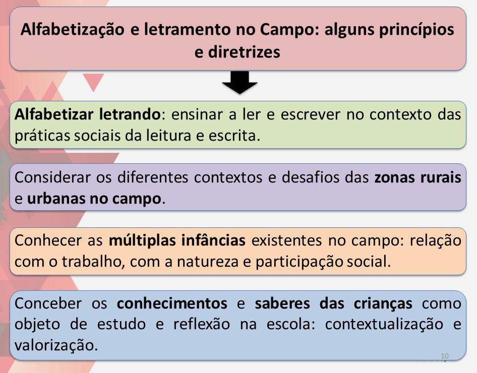 Alfabetização e letramento no Campo: alguns princípios e diretrizes 10 Alfabetizar letrando: ensinar a ler e escrever no contexto das práticas sociais