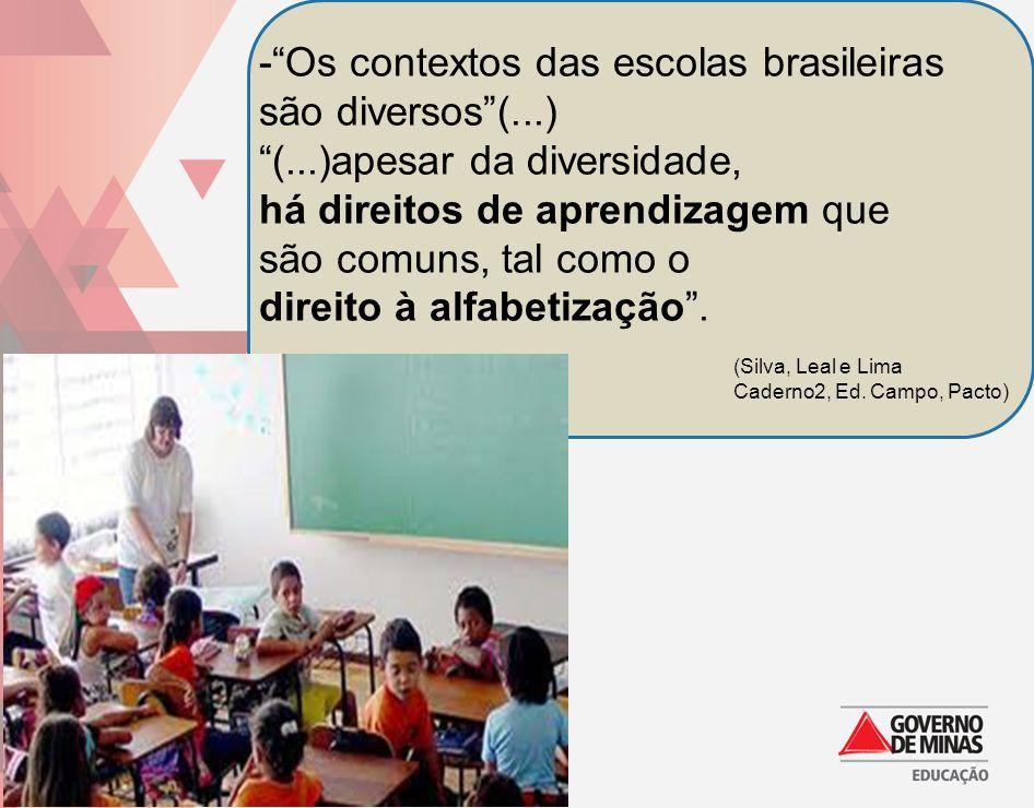 -Os contextos das escolas brasileiras são diversos(...) (...)apesar da diversidade, há direitos de aprendizagem que são comuns, tal como o direito à a