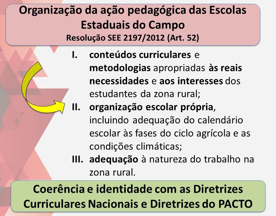 Organização da ação pedagógica das Escolas Estaduais do Campo Resolução SEE 2197/2012 (Art. 52) 9 I.conteúdos curriculares e metodologias apropriadas