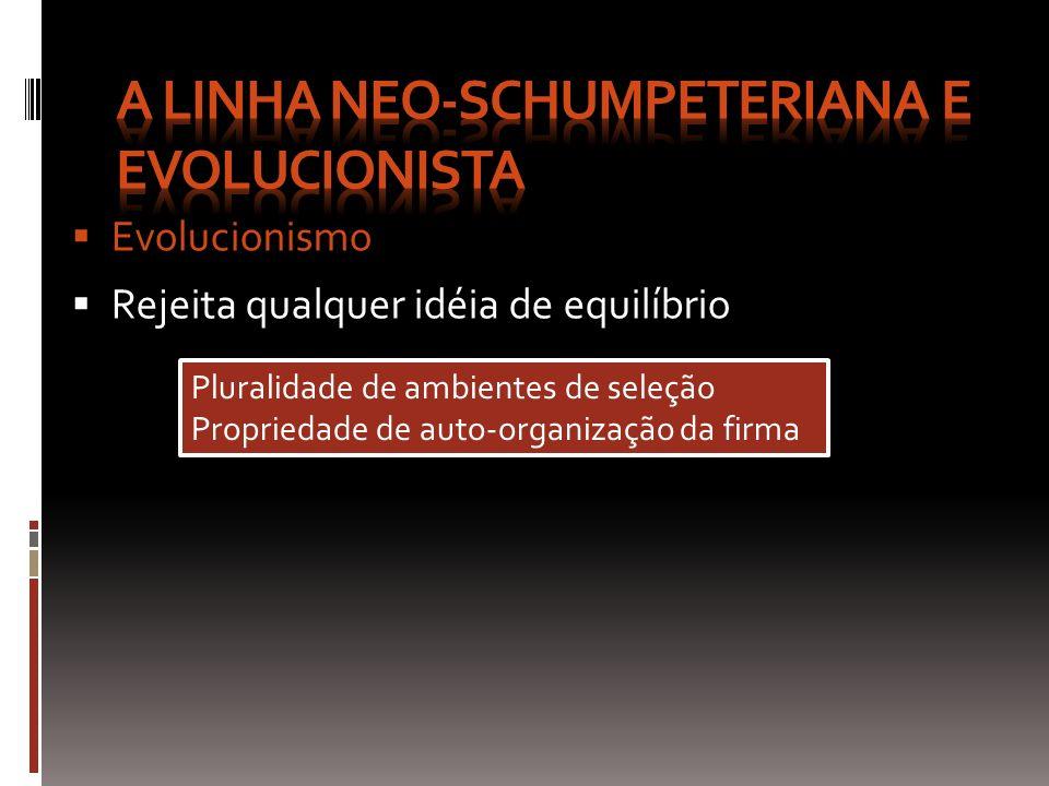 Evolucionismo Rejeita qualquer idéia de equilíbrio Pluralidade de ambientes de seleção Propriedade de auto-organização da firma Pluralidade de ambient