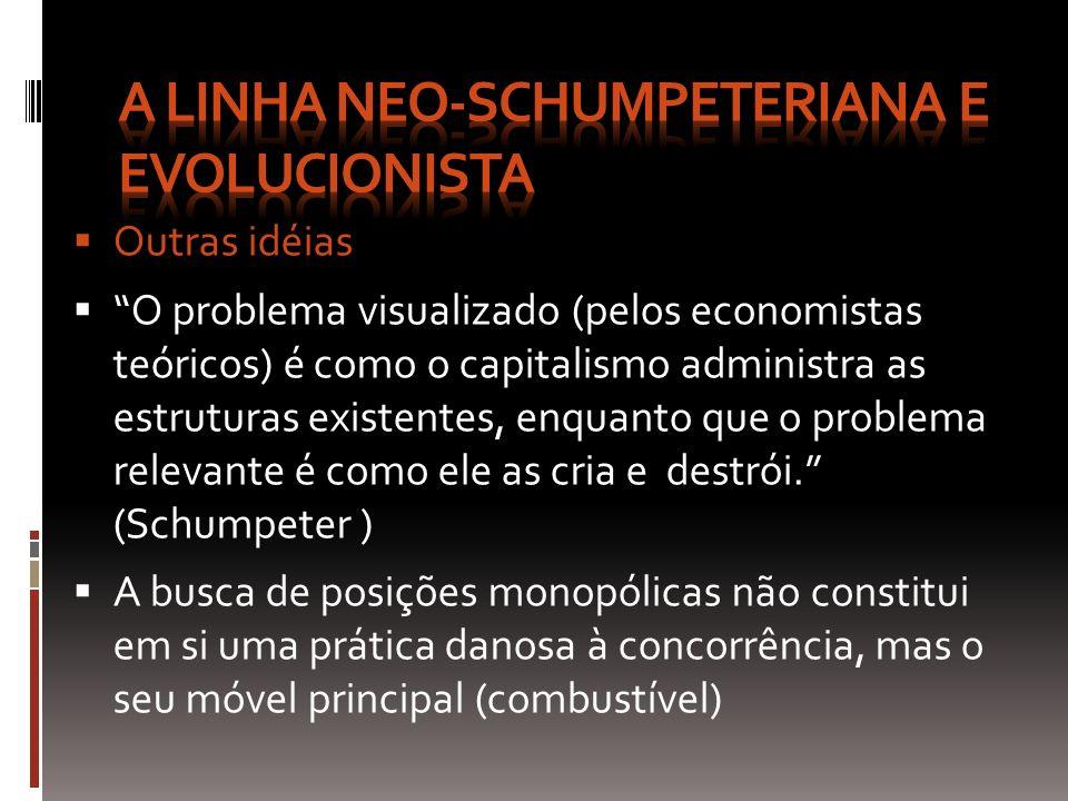 Outras idéias O problema visualizado (pelos economistas teóricos) é como o capitalismo administra as estruturas existentes, enquanto que o problema re