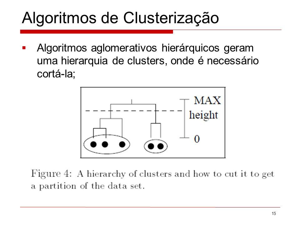 Algoritmos de Clusterização Algoritmos aglomerativos hierárquicos geram uma hierarquia de clusters, onde é necessário cortá-la; 15