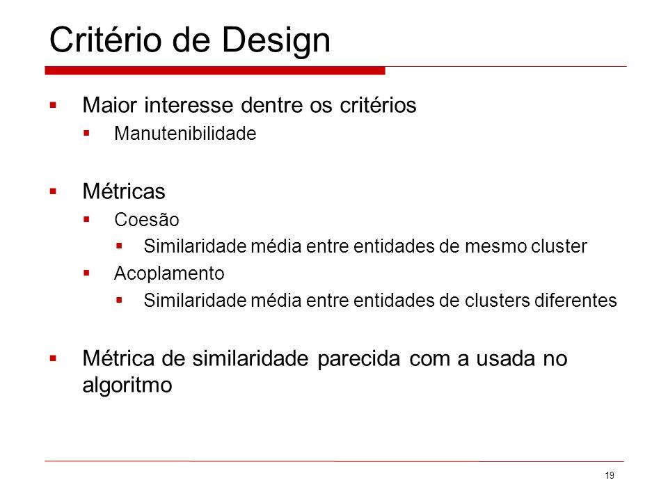 Critério de Design Maior interesse dentre os critérios Manutenibilidade Métricas Coesão Similaridade média entre entidades de mesmo cluster Acoplamento Similaridade média entre entidades de clusters diferentes Métrica de similaridade parecida com a usada no algoritmo 19