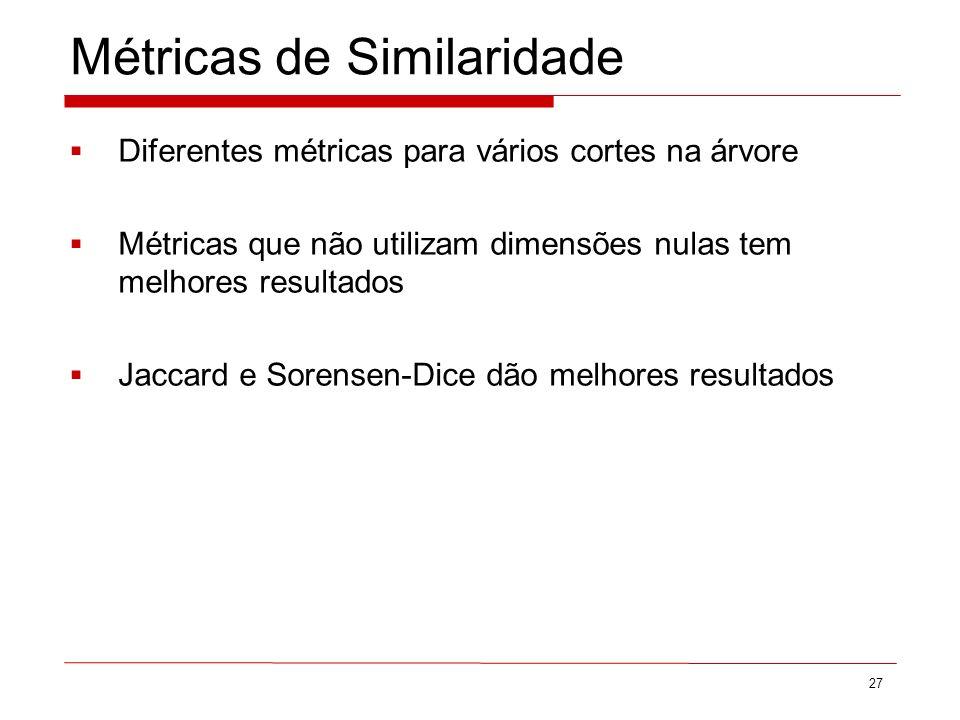 Métricas de Similaridade 27 Diferentes métricas para vários cortes na árvore Métricas que não utilizam dimensões nulas tem melhores resultados Jaccard e Sorensen-Dice dão melhores resultados