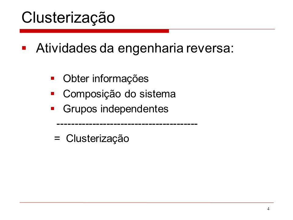 Clusterização Atividades da engenharia reversa: Obter informações Composição do sistema Grupos independentes ---------------------------------------- = Clusterização 4