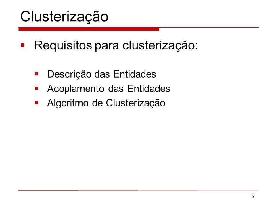 Clusterização Requisitos para clusterização: Descrição das Entidades Acoplamento das Entidades Algoritmo de Clusterização 5