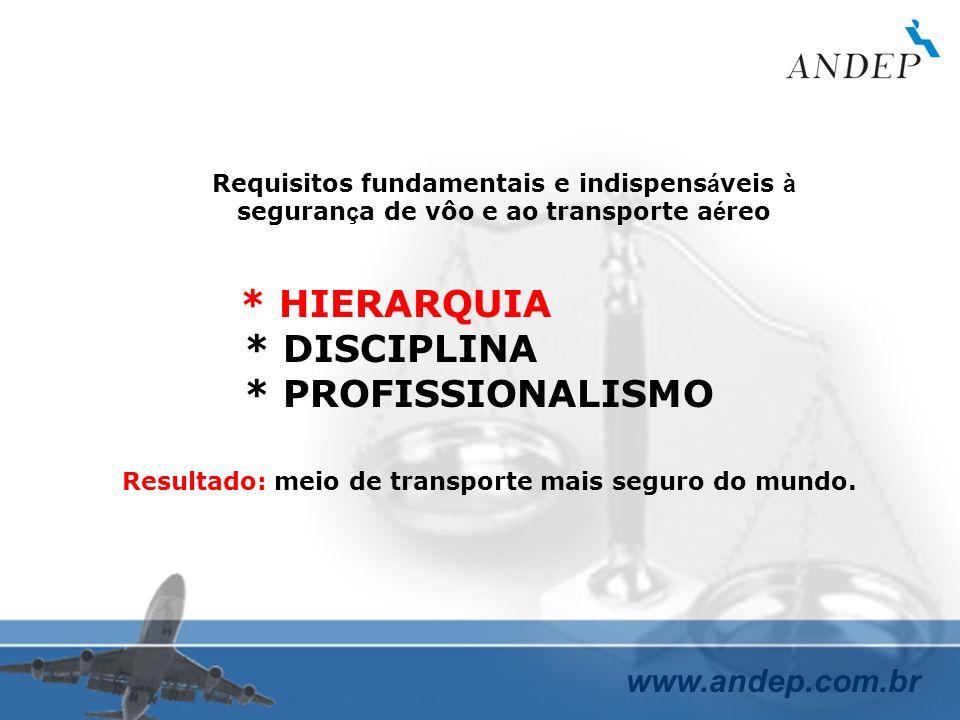 www.andep.com.br Requisitos fundamentais e indispens á veis à seguran ç a de vôo e ao transporte a é reo * HIERARQUIA * DISCIPLINA * PROFISSIONALISMO