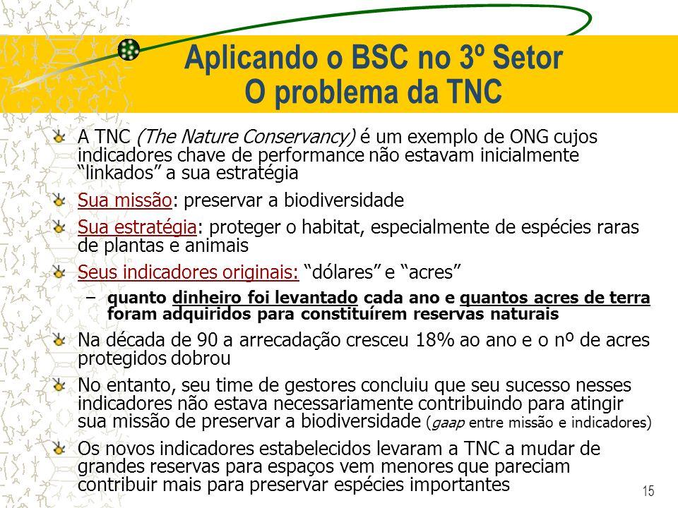 15 Aplicando o BSC no 3º Setor O problema da TNC A TNC (The Nature Conservancy) é um exemplo de ONG cujos indicadores chave de performance não estavam