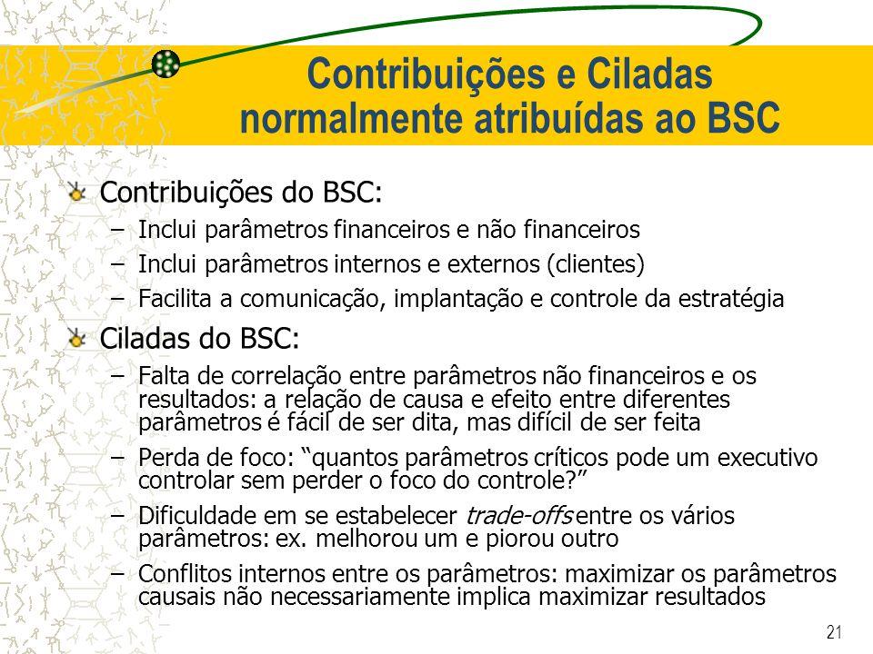 21 Contribuições e Ciladas normalmente atribuídas ao BSC Contribuições do BSC: –Inclui parâmetros financeiros e não financeiros –Inclui parâmetros int