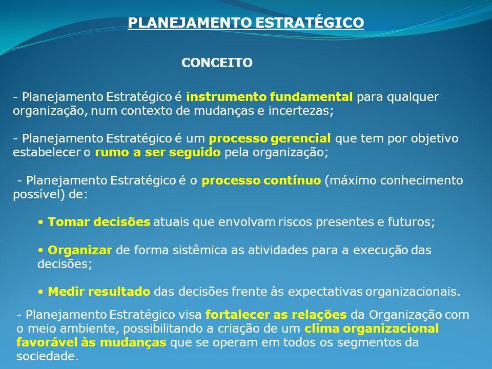 CONCEITO - Planejamento Estratégico é instrumento fundamental para qualquer organização, num contexto de mudanças e incertezas; - Planejamento Estraté