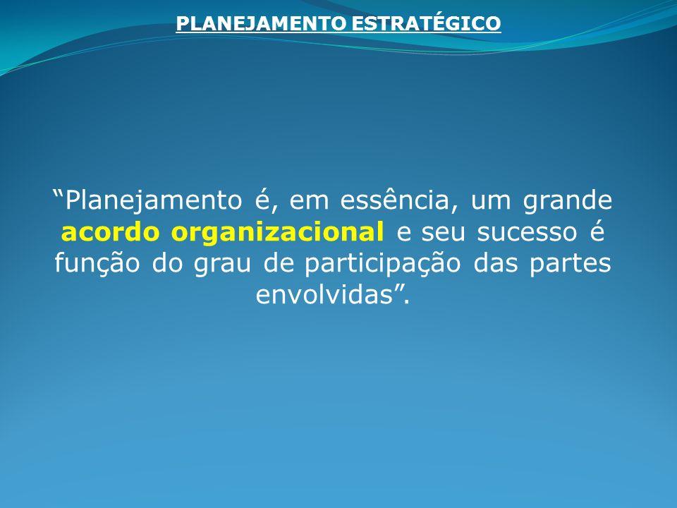 Planejamento é, em essência, um grande acordo organizacional e seu sucesso é função do grau de participação das partes envolvidas. PLANEJAMENTO ESTRAT