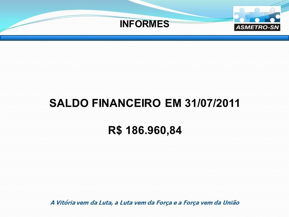 SALDO FINANCEIRO EM 31/07/2011 R$ 186.960,84 INFORMES A Vitória vem da Luta, a Luta vem da Força e a Força vem da União