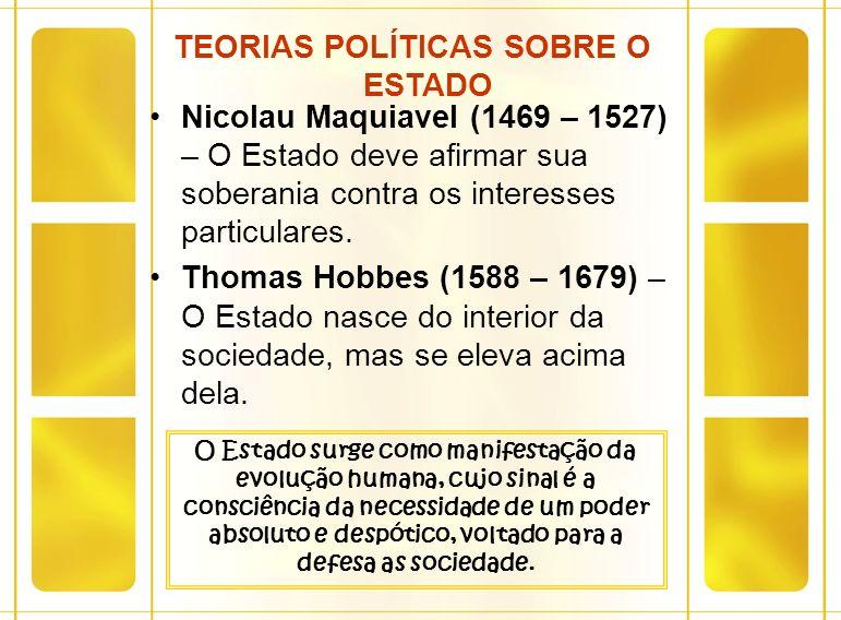Nicolau Maquiavel (1469 – 1527) – O Estado deve afirmar sua soberania contra os interesses particulares. Thomas Hobbes (1588 – 1679) – O Estado nasce