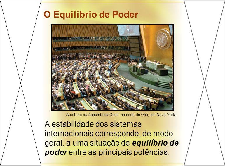 O Equilíbrio de Poder Auditório da Assembleia-Geral, na sede da Onu, em Nova York. A estabilidade dos sistemas internacionais corresponde, de modo ger