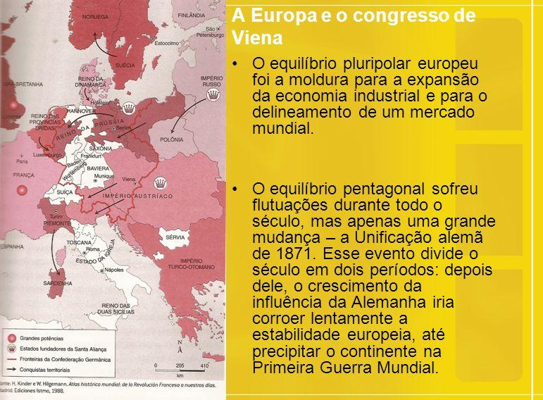 A Europa e o congresso de Viena O equilíbrio pluripolar europeu foi a moldura para a expansão da economia industrial e para o delineamento de um mercado mundial.