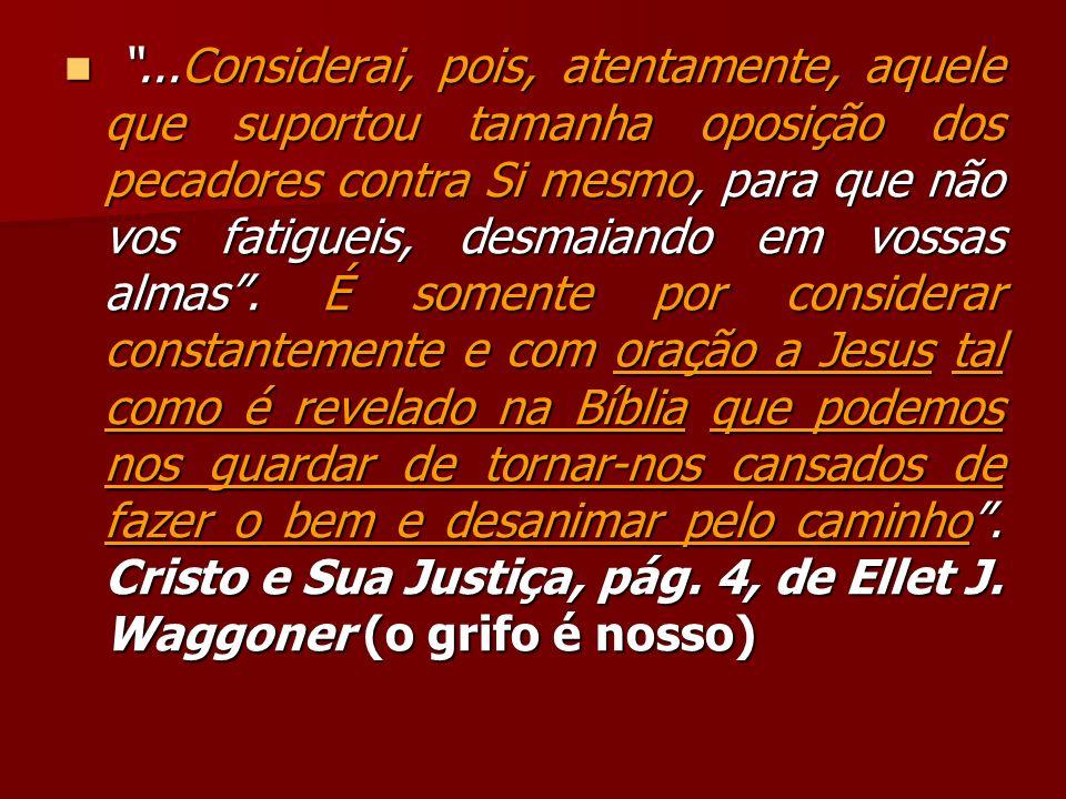 ...Considerai, pois, atentamente, aquele que suportou tamanha oposição dos pecadores contra Si mesmo, para que não vos fatigueis, desmaiando em vossas