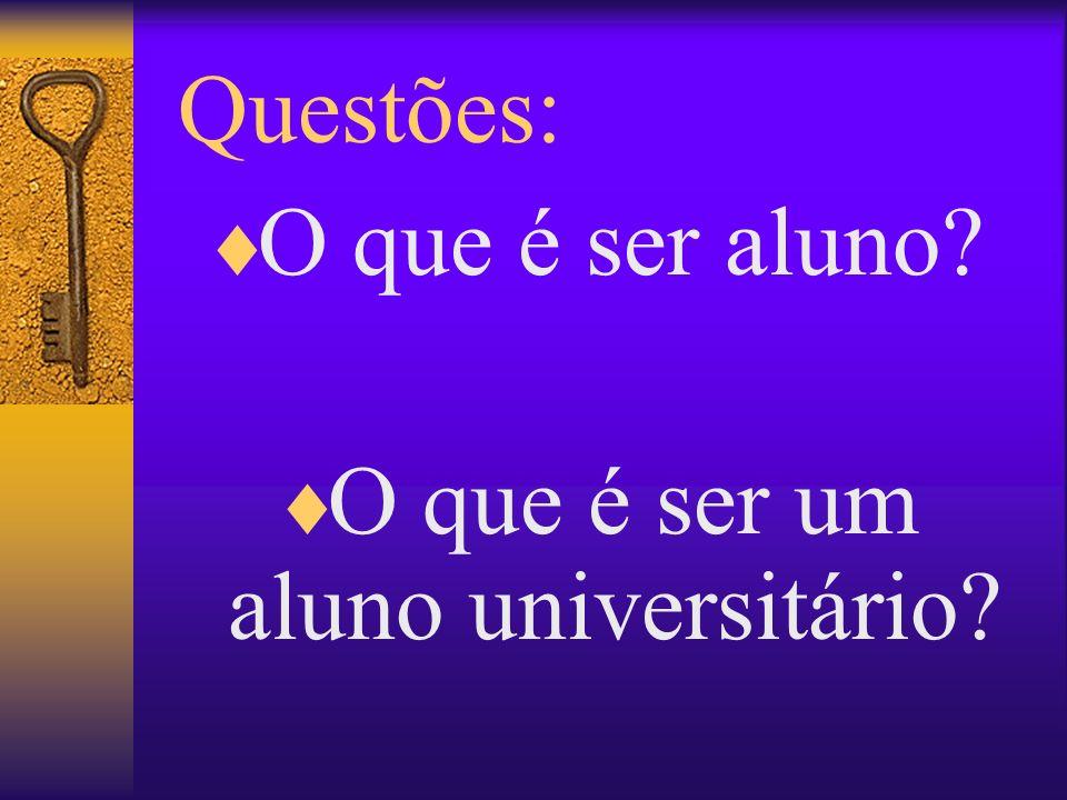 Questões: O que é ser aluno? O que é ser um aluno universitário?