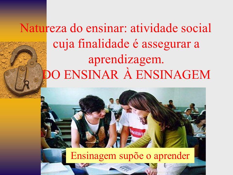 Natureza do ensinar: atividade social cuja finalidade é assegurar a aprendizagem.