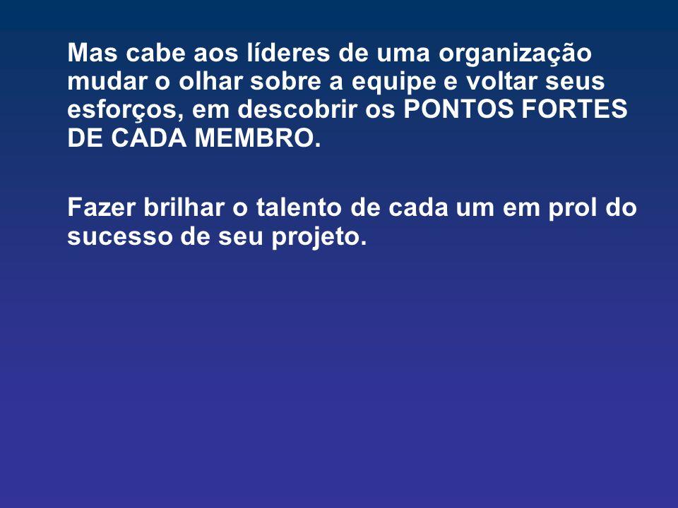 Mas cabe aos líderes de uma organização mudar o olhar sobre a equipe e voltar seus esforços, em descobrir os PONTOS FORTES DE CADA MEMBRO. Fazer brilh