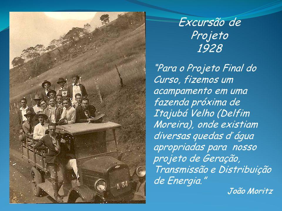 Excursão de Projeto 1928 Para o Projeto Final do Curso, fizemos um acampamento em uma fazenda próxima de Itajubá Velho (Delfim Moreira), onde existiam