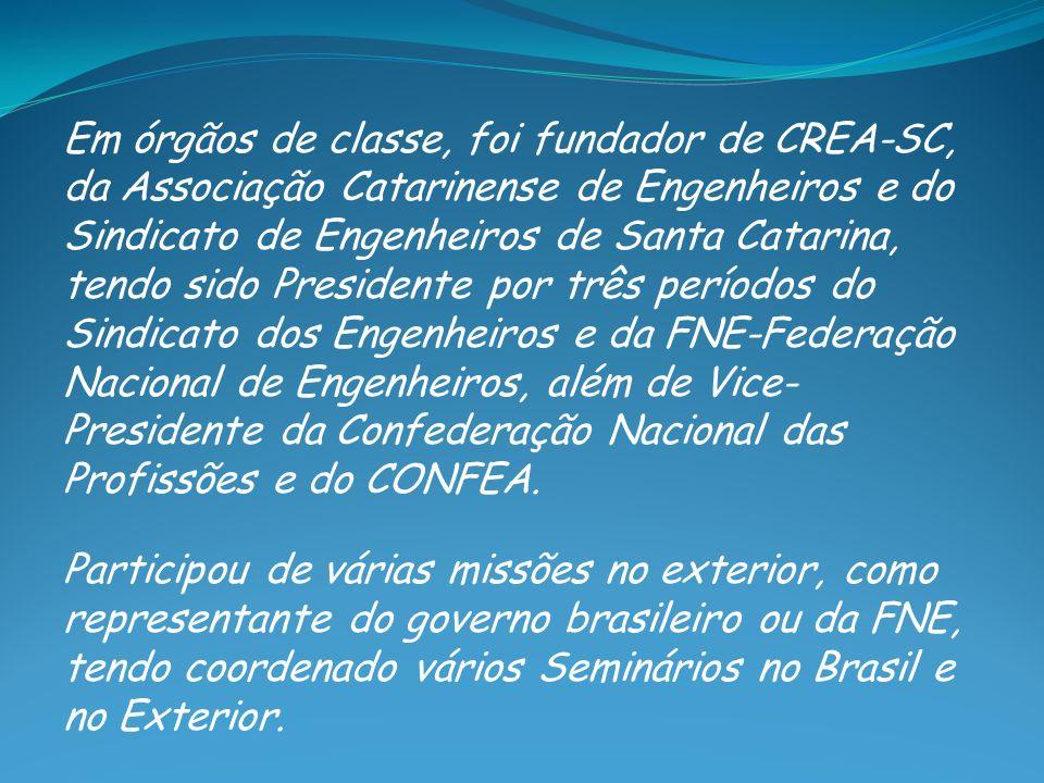 Em órgãos de classe, foi fundador de CREA-SC, da Associação Catarinense de Engenheiros e do Sindicato de Engenheiros de Santa Catarina, tendo sido Pre