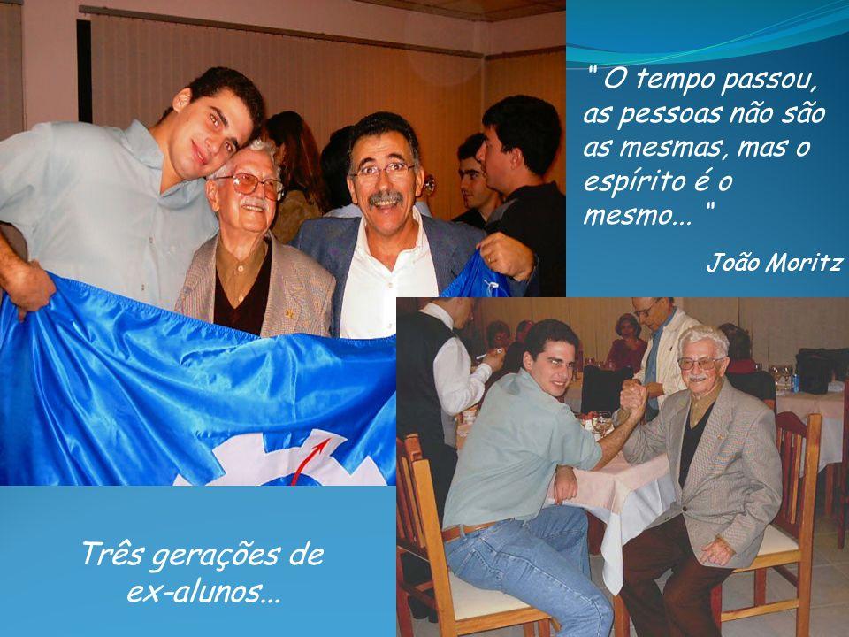 Três gerações de ex-alunos... O tempo passou, as pessoas não são as mesmas, mas o espírito é o mesmo... João Moritz
