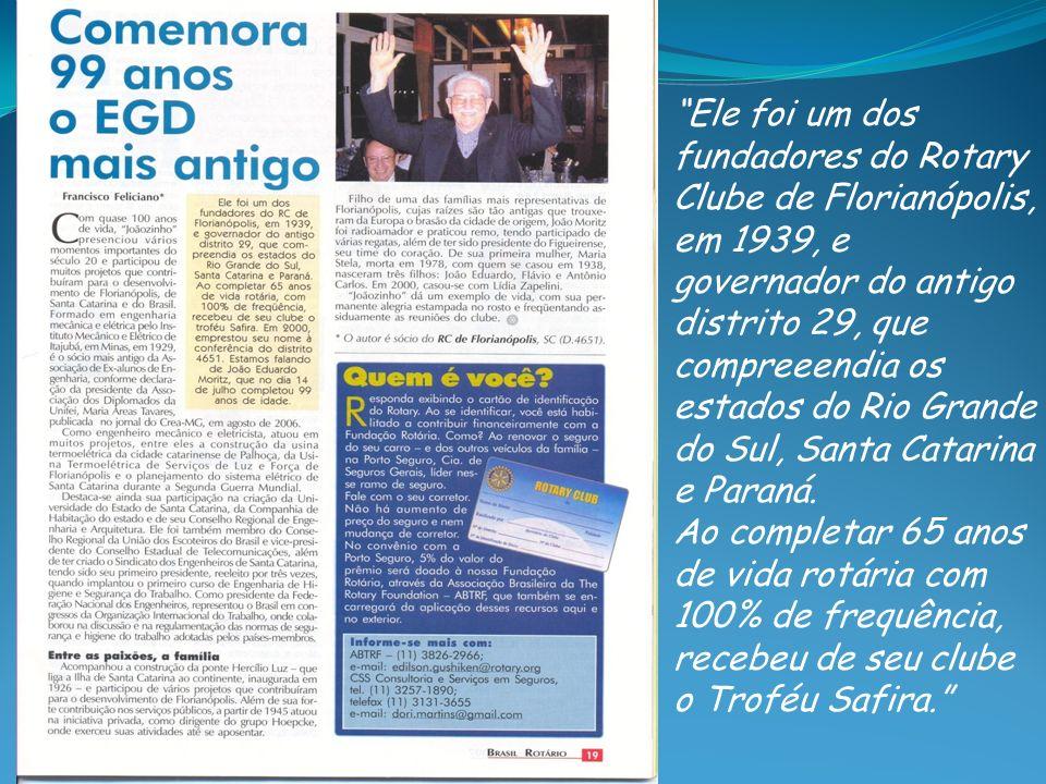 Ele foi um dos fundadores do Rotary Clube de Florianópolis, em 1939, e governador do antigo distrito 29, que compreeendia os estados do Rio Grande do