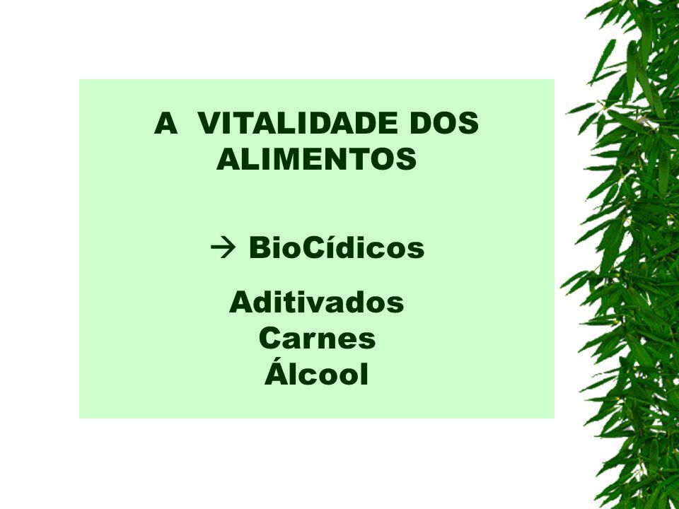 A VITALIDADE DOS ALIMENTOS BioCídicos Aditivados Carnes Álcool